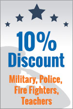10% Discount Military, Police, Fire Fighters, Teachers
